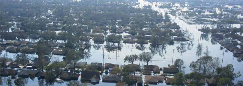 The flooded homes in New Orleans, Louisiana after Hurricane Katrina