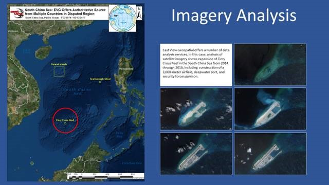 A series of satellite images comparing visible boats. Used for defense purposes.