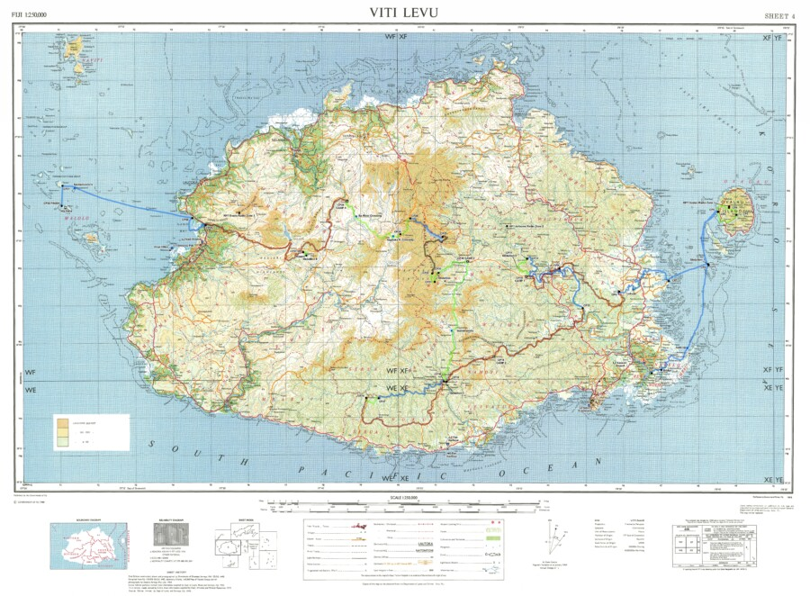 A map made by East View Geospatial of Fiji that contains elevation data, 50K and 250K topographic information, and bathymetric data.