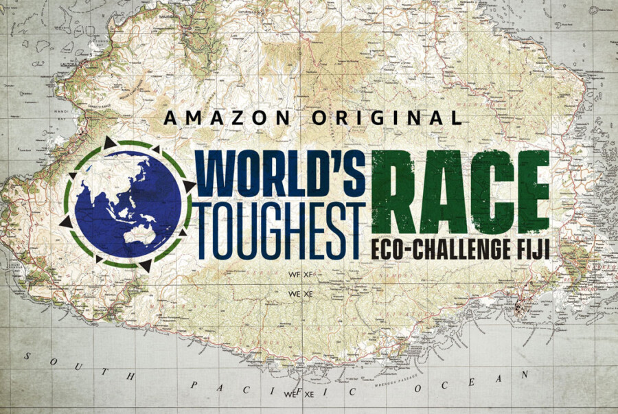 The logo for Eco-Challenge: World's Toughest Race with a topographic map produced by East View Geospatial in the background