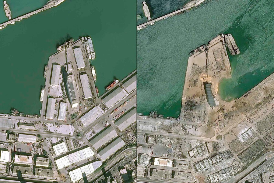 A before-and-after comparison image of a dock in Beirut after a massive explosion.