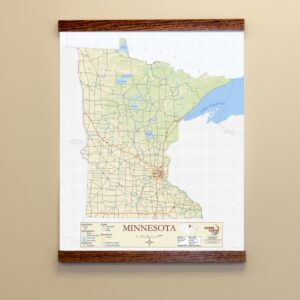 Image of custom printed map with wood hanging bars