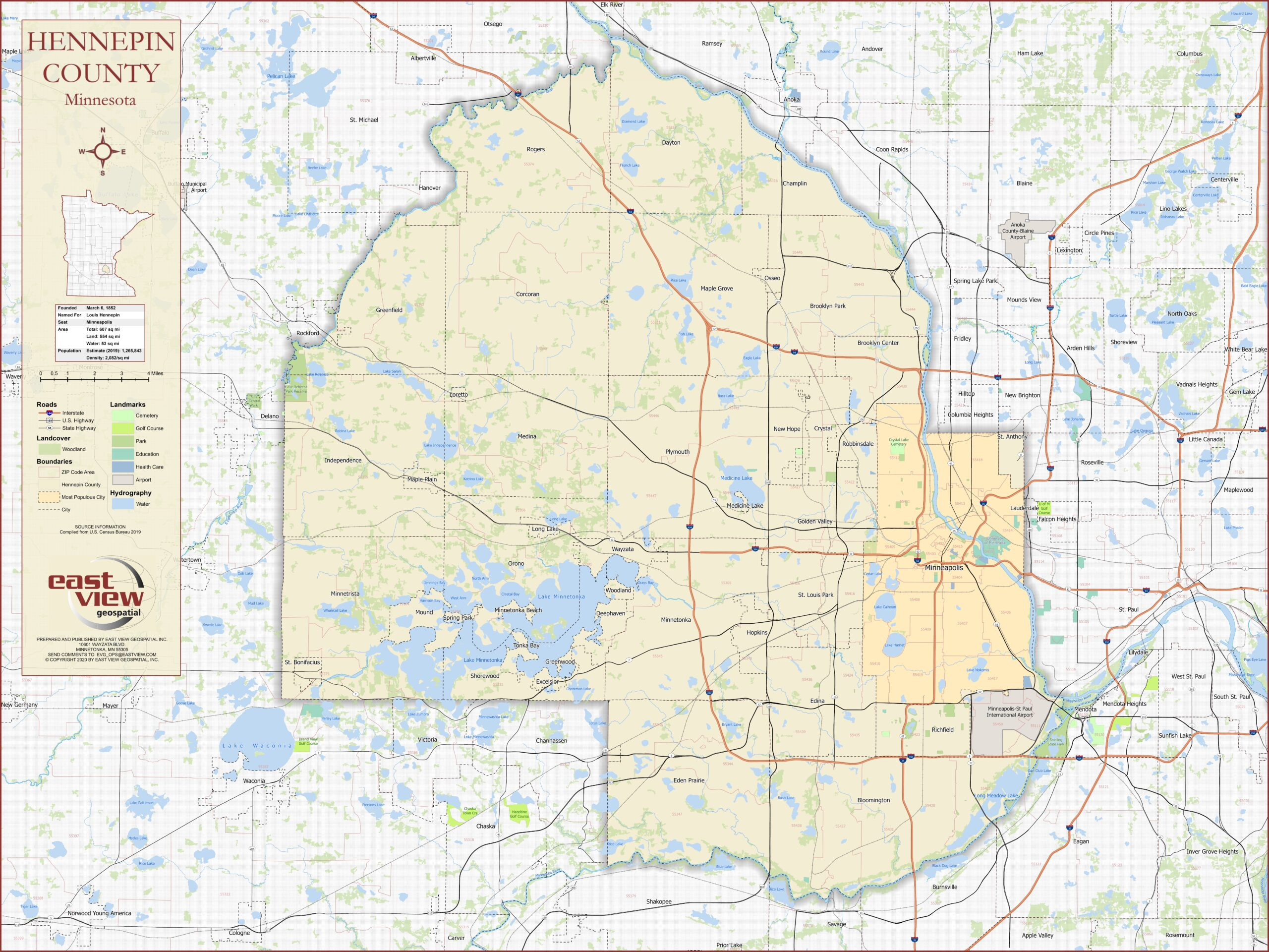 Custom produced map of Hennepin County, Minnesota