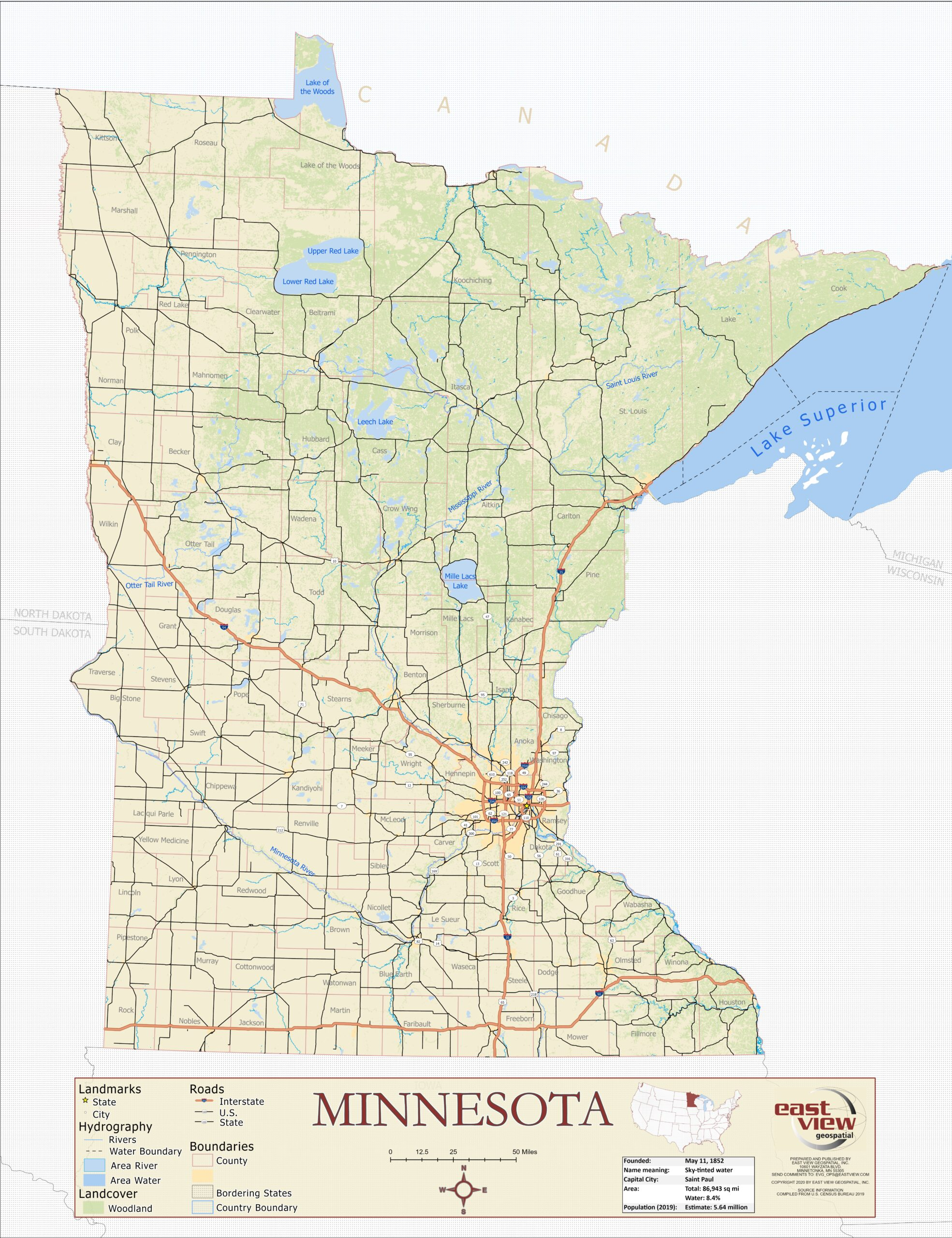 Custom produced thematic map of Minnesota
