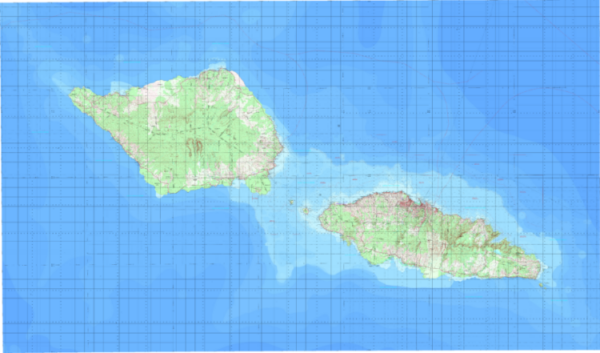A mosaic of topographic maps over the island of Samoa created by East View Geospatial.