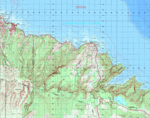 A topographic map of Samoa produced by East View Geospatial.