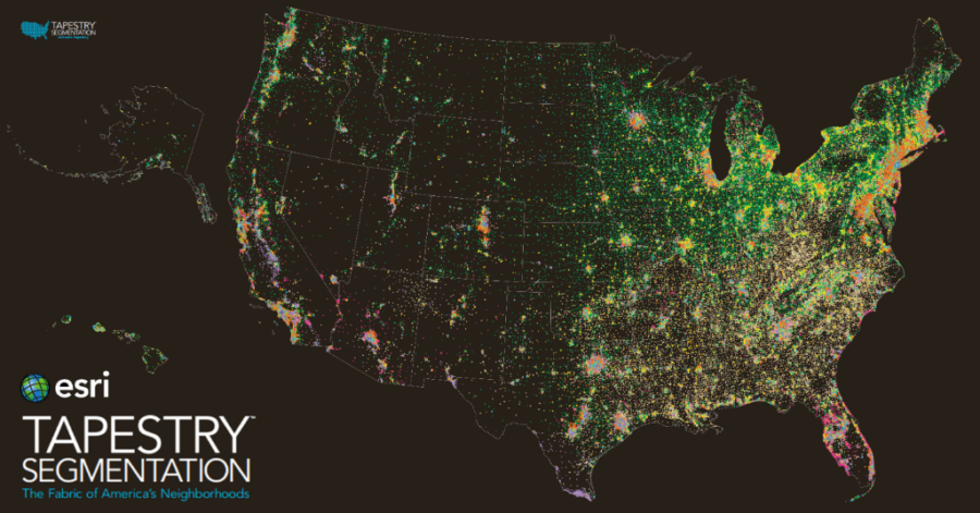 Esri Tapestry software overlayed on a satellite image of the United States.