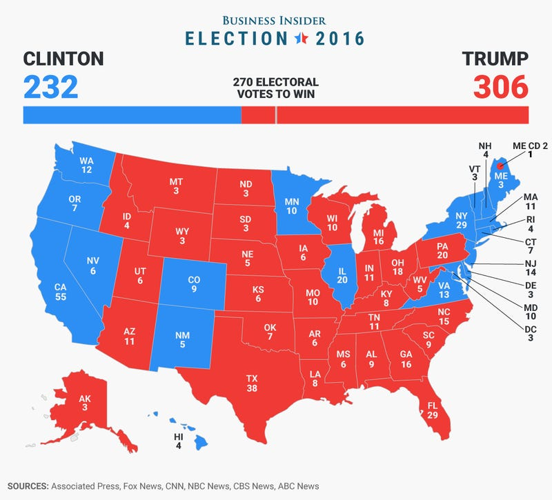 An electoral map of the 2016 presidential election
