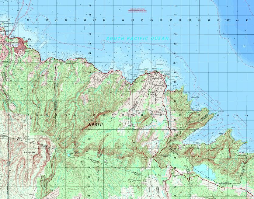 A topographic map of Samoa produced by the EVG team