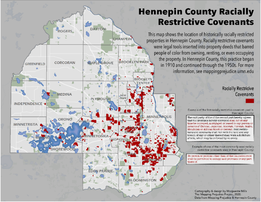 The distribution of known racially covenants in Hennepin County, Minnesota.