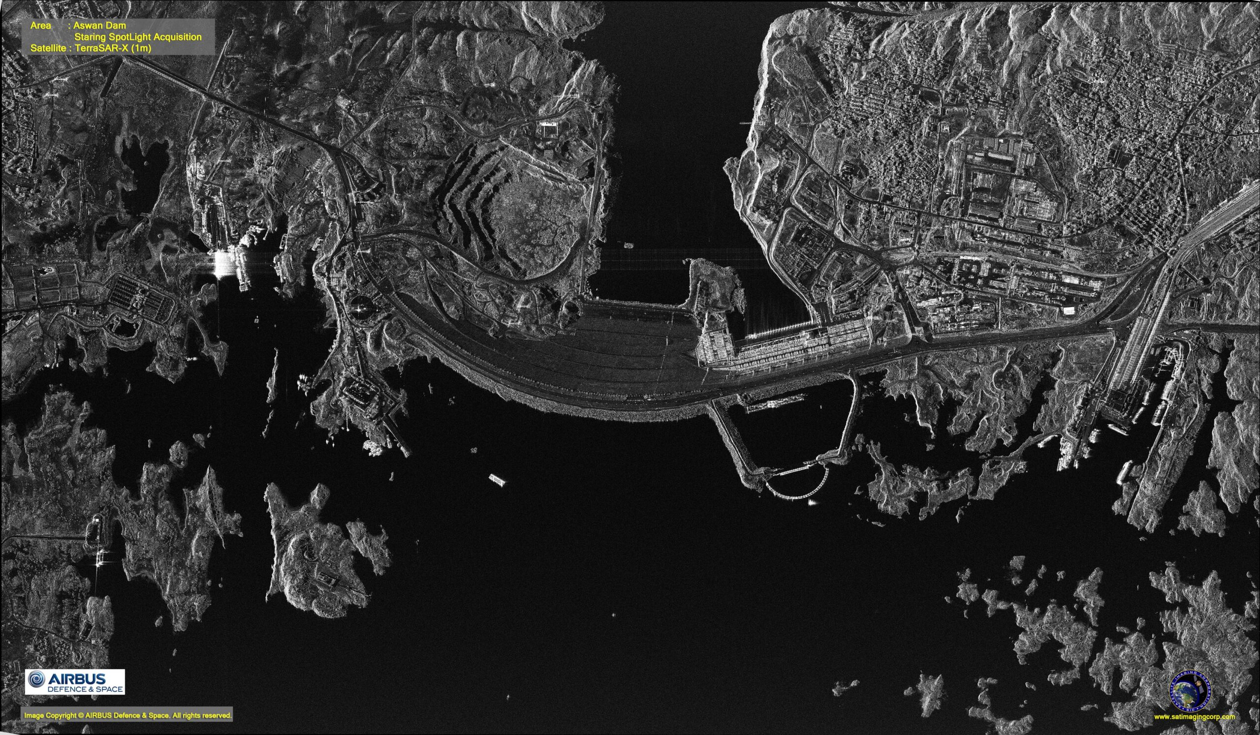 SAR image of the Aswan Dam in Egypt.
