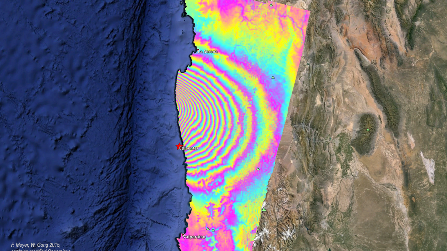 An image created using SAR data to show motion from a 2015 earthquake.