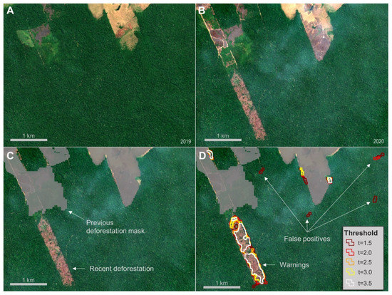 A figure showing how SAR data is used to detect deforestation in the Amazon.